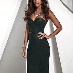 Venus Leather Inlet Midi Dress